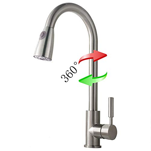 Ymkb Commercial Single Handle High Arc Brushed Nickel Pull out Kitchen Faucet, Single Level Stainless Steel Kitchen Sink Faucets with Pull Down Sprayer Without Deck Plate