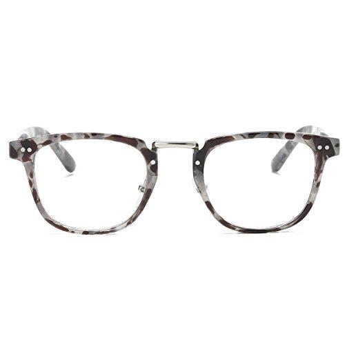 Amomoma Square Reading Glasses Optical Frame Clear Lens Eyewear Eyeglasses AM5021 C6 Grey - Cheap For Sale Tortoise
