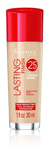 Rimmel Lasting Finish Foundation, Ivory, 1 oz, Medium Coverage Liquid Foundation with SPF 20, Long Lasting Smooth & Even Look