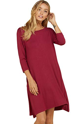 Annabelle Women's Relaxed Soft and Snug Mid Length Short Sleeve Dress with Side Pockets Berry Large D5213