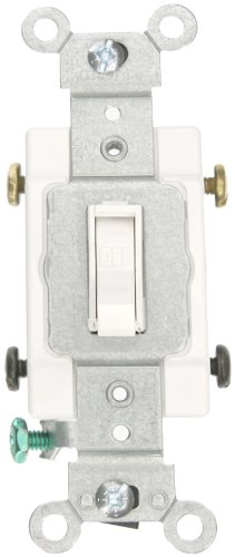 Leviton 54502-2W 15 Amp, 120/277 Volt, Toggle Framed Double-Pole AC Quiet Switch, Commercial Grade, Grounding, White