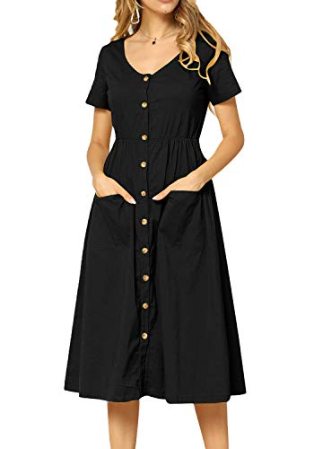 Simier Fariry Women Plain Casual Short Sleeve Pockets Loose Flowy Modest Midi Dress Black 10 ()