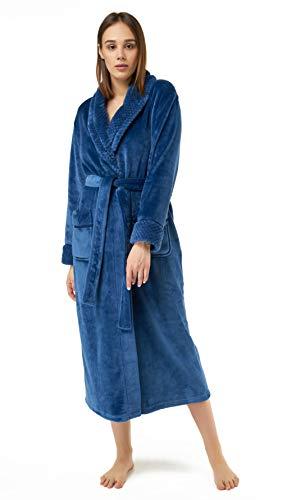 arm Fleece Bathrobe, Comfy Womens Robe Navy Blue ()