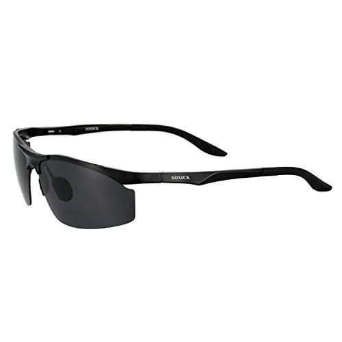 Men Sunglasses Polarized UV Protection Sun Glasse Anti Glare Glasses Black Lens (black-2, - Uv Highest Sunglasses Protection
