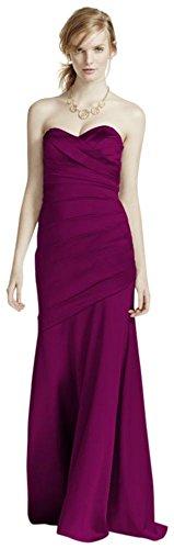 Long Strapless Stretch Satin Bridesmaid Dress Style F15586 – 2, Sangria