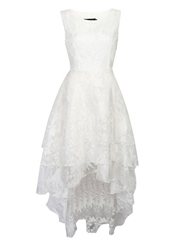 Persun Women's White Floral Print Gauze Panel Multi Layer Sleeveless Hi-lo Dress, White, X-Large