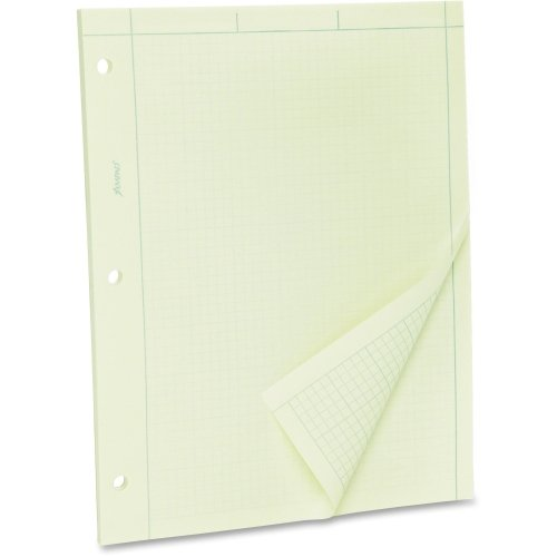 TOPS Green Tint Engineer's Quadrille Pad - 100 Sheet - 15 lb - Unruled - Letter 8.50'' x 11'' - 100 / Pad - Green Tint Paper