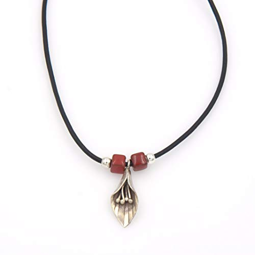- Sterling Silver Lily Pendant Necklace - Dark Red Square Glazed Stoneware Leather Cord 1.25 & 17-in