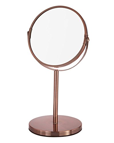 CROWNSTARQI Makeup Mirror 5-inch Tabletop Two-Sided Swivel Vanity Mirror with 3x Magnification, 12.5-inch Height, Bronze Copper Stainless Steel by CROWNSTARQI