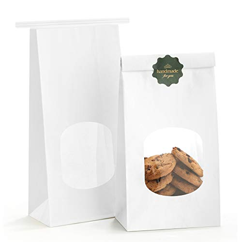Tab Tin - BagDream Bakery Bags with Window Kraft Paper Bags 100pcs 4.5x2.36x9.6