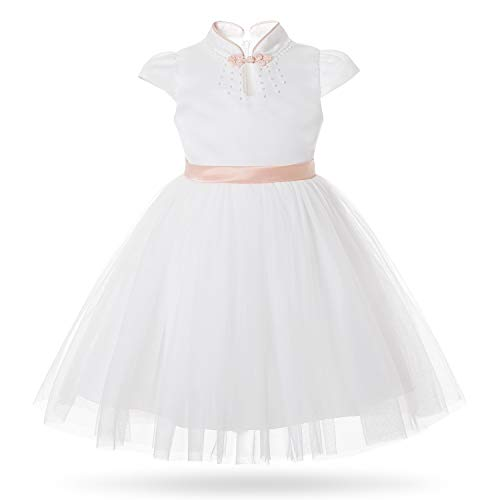 CIELARKO Girls Dress Party Birthday Princess Kids Dresses for 2-7 Years Rose Gold