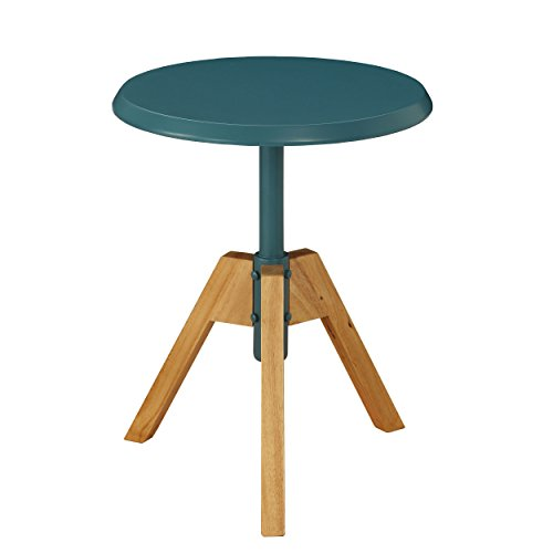 Urban Designs Levone Collection Tripod Wooden End Table - Teal -
