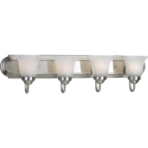 Progress Lighting P3054-09EBWB 4-Light Energy Star Bath Compact Fluorescent with Etched Alabaster Shades and an Elongated Racetrack-Style Backplate, Brushed Nickel