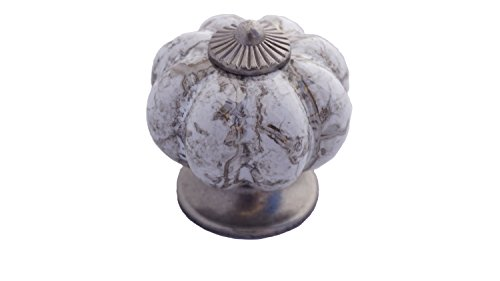 - DIY Décor Hub-20 Antique Silver Kitchen Ceramic Pumpkin Pulls/Knobs for Cabinets, Cupboard Dresser and Drawers