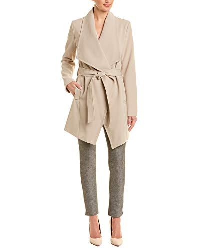 (Tahari Womens Wrap Coat, M, Brown)