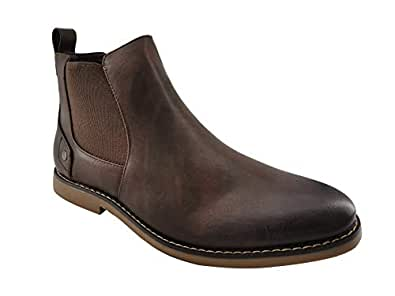 PARTY Mens Ankle Casual Chelsea Boots Brown Size: 7