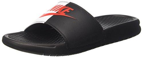NIKE Men's Benassi Just Do It Athletic Sandal, Black/Game Red/White, 12 D US