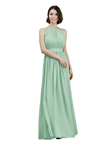 Alicepub Halter Illusion Bridesmaid Dress Chiffon Formal Evening Prom Gown Maxi, Mint Green, US8