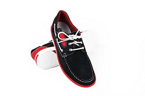 Taille Bleu Chaussures Zerimar Grande Cuir pour en Bateau Marine rouge7 Homme 0wBZfqw
