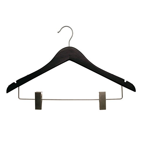 NAHANCO 262-17RC Flat Wood Suit Hanger, 17'', Low Gloss Black (Pack of 100) by NAHANCO
