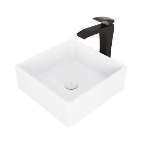 Stone Vessel Sink Set - VIGO Bavaro Matte Stone Vessel Sink and Matte Black Blackstonian Faucet Set with Pop-up Drain in Matte White Finish