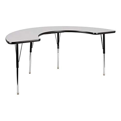 Half-Moon Adjustable Height School Classroom Activity Table - Gray Nebula Top/Black -