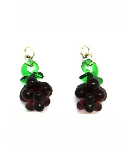 Glass Purple Grapes Hook Earrings - Toy Fashion Earrings