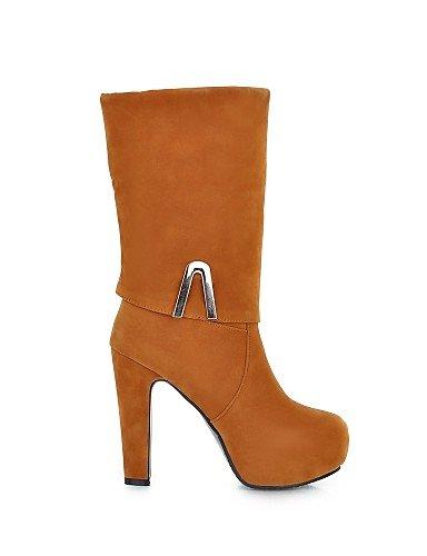 XZZ  Damenschuhe - - - Stiefel - Kleid   Lässig - Kunst-Veloursleder - Blockabsatz - Rundeschuh   Modische Stiefel - Schwarz   Gelb   Rot   Beige c1b465