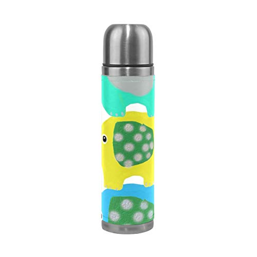 OuLian Water Bottle Elephant Stack Animals Fun Travel Insulated Stainless Steel Water Bottles Leak Proof Double Wall Thermos Leather Cover 17Oz (500ml) by OuLian