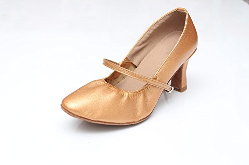 ShangYi Modern dance shoes women's adult dance shoes Microfiber leather Ms. Waltz dance ballroom dance shoes soft, with height 7cm Brown