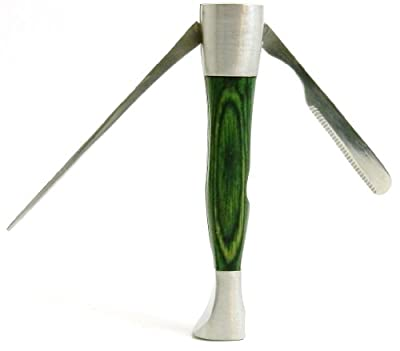 Executive Desktop Pipe Pipe Czech Tool - Tamper, Reamer & Pick 3-in-1 Tool - Oak Wood & Stainless Steel - Heavy Duty