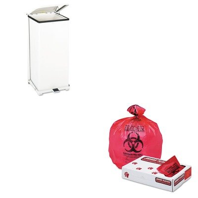 KITJAGIW3339RRCPST24EPLWH - Value Kit - Jaguar Plastics IW3339R Red Healthcare, Infectious Waste and Infectious Can Liners, 33 Gallons (JAGIW3339R) and Defenders Biohazard Step Can, Square, Steel, 24 gal, White (RCPST24EPLWH)
