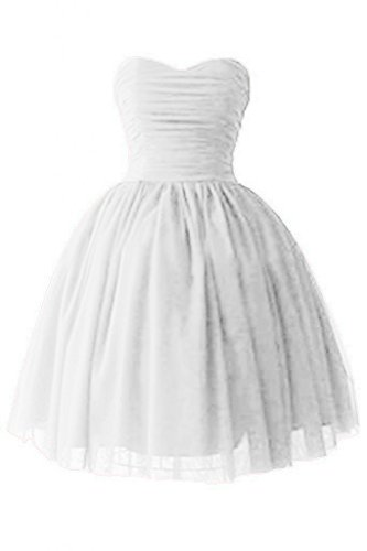 (Victoria Prom Women's Sweetheart Cocktail Dresses Satin Tulle Homecoming Party Dresses Ivory us14)