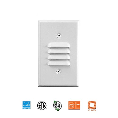 Vertical Step Light - LED Mini Step/Stair Light with Vertical Louvered Wall Plates Included, Indoor,3000K, 1W, Wish Lighting(White Louver)