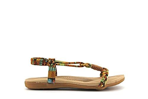 Modelisa - Sandalia Plana Detalle Tiras Mujer Camel