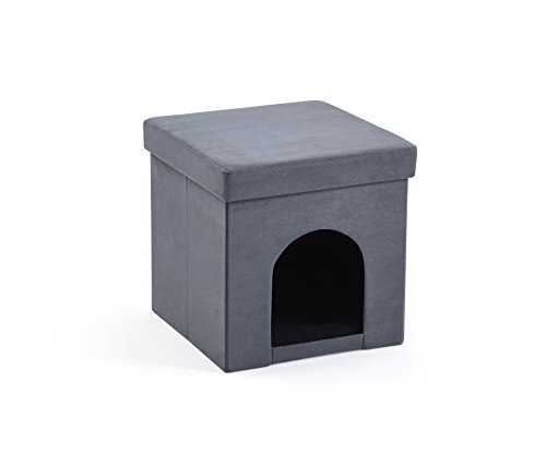 Hodedah HID800 Grey Faux Suede Collapsible Pet in Ottoman