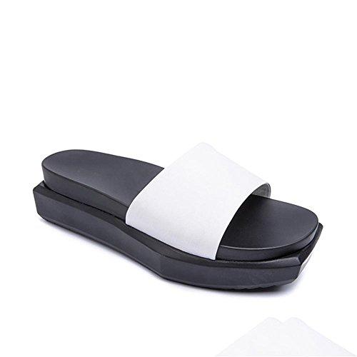 Heart&M Dedo del pie cuadrado de la mujer suela plana mollete la plataforma del talón del talón medio sólido sandalias del color de los deslizadores White