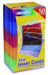 CD/DVD Slim Jewel Cases, Color, 50pk