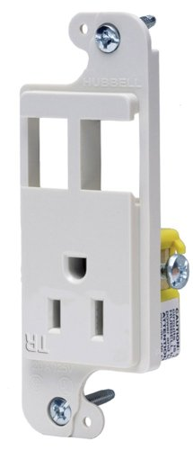 Hubbell Wiring Systems RJ65WTR tradeSELECT JLOAD Tamper-Resistant Multimedia Outlet, Unloaded, 15A, 125V, White ()