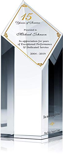 (Personalized Crystal Diamond Length of Service Award Plaque for Man or Woman, Customized with Employee & Company Name, Years of Service, Unique Corporate Service Recognition Award Trophy (L - 9