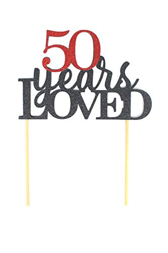 All About Details 50 Years Loved Cake Topper, 1pc, 50th birthday, 50th anniversary, glitter topper, party decoration, photo props (Black & Red) -