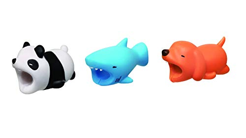 Kpergah 3 Pcs Cable Bite Protectors Cute Animal Cord Compatible with iPhones (Panda + Shark + Dog)