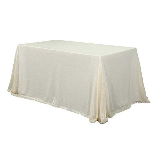 TRLYC 60 x 120-Inch Rectangular Sequin Tablecloth Ivory