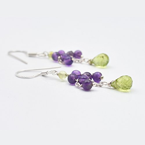 Natural Amethyst Peridot Beads Chandelier Earrings with 925 Sterling Silver Findings 2