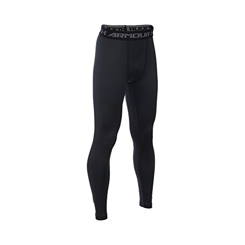 Under Armour Boys' ColdGear Armour Leggings, Black/Reflective, Youth Large