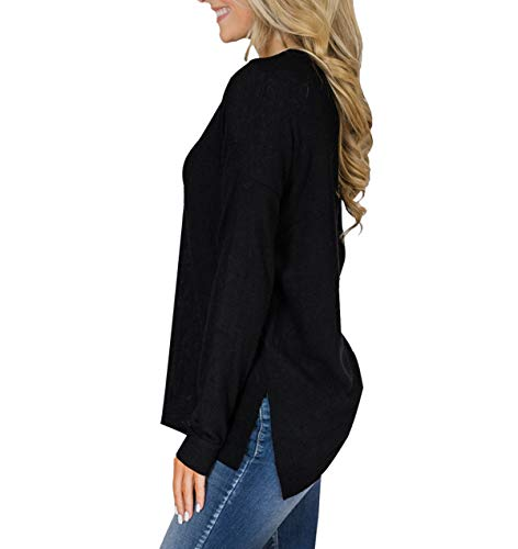 Printemps Fashion Slim et Casual Noir Blouse Shirts Automne Simple Longues Jeune Femme Tops Chemisier Pulls Hauts T Fashion Manches Tee Jumpers q5Cd8qwxg