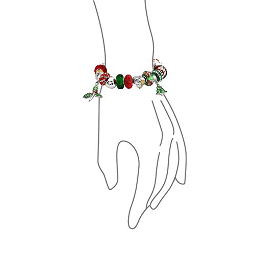Bling Jewelry Sterling Silver My Wife Heart Charm Christmas Bead Bracelet With Dangle Enamel Glass Charm by Bling Jewelry (Image #2)