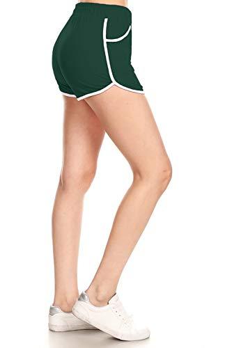 Leggings Depot RSB128-FORESTGREEN-M Solid Fashion Shorts w/Pockets, Medium