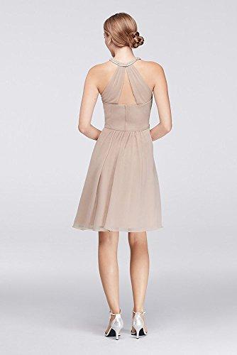 Robe Courte De Demoiselle D'honneur En Mousseline De Soie Avec Style Décolleté Illusion Perles W11082 Glycines