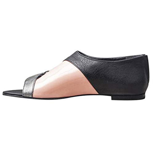 (Women Peep Toe Cutout Asymmetrical Sandals Fashion Casual Contrast Color Flat Shoes with Back Zip by Lowprofile Gray )